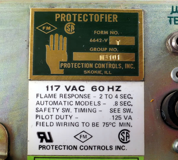 PROTECTION CONTROLS 6642-VT PROTECTOFIER U300//M ASSEMBLY BURNER CONTROL