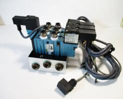 Used MAC 411A-B0A-DM-DFBJ-1KJ 20-12- PSI, 1.8W, 24VDV, Solenoid Valves with MAC Circuit Bar - Photo 1