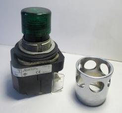 Allen Bradley 800TPB16G Green Lens Illuminated 120VAC Pushbutton Switch with Guard-Photo 1