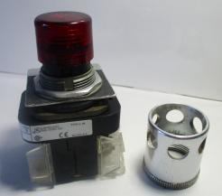 Allen Bradley 800T-QA24R Red Lens Illuminated 24VAC Pushbutton Switch-Photo 1