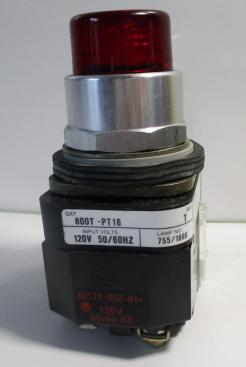 Used Allen Bradley 800T-PT16R 120VAC Red Push-to-Test Pilot Light-Photo 1