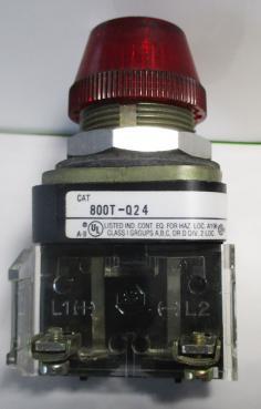 Used Allen Bradley 800T-Q24R Red Incandescent Pilot Light-Photo 1