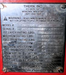 Used Thern 4WS1M6-950 Worm/Spur Gear Power Winch - Plate Photo
