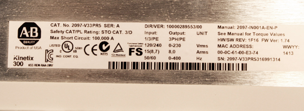 Used Allen-Bradley 2097-V33PR5 Kinetix 300 Ethernet / IP Indexing Servo  Drive Series A